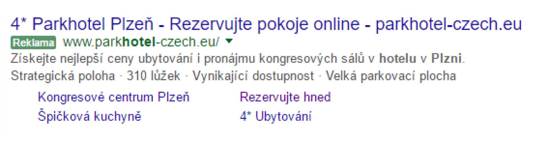 Reklama na Parkhotel Plzeň